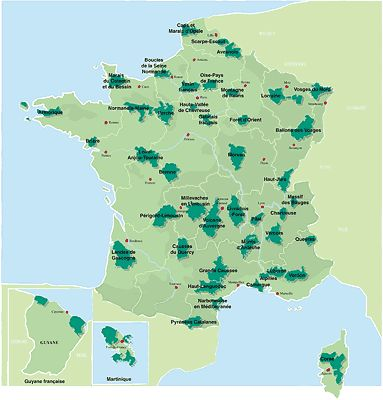 carte Parcs France eauvergnat