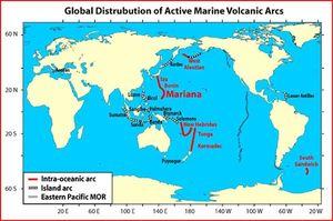 arcs de volcans marins actifs
