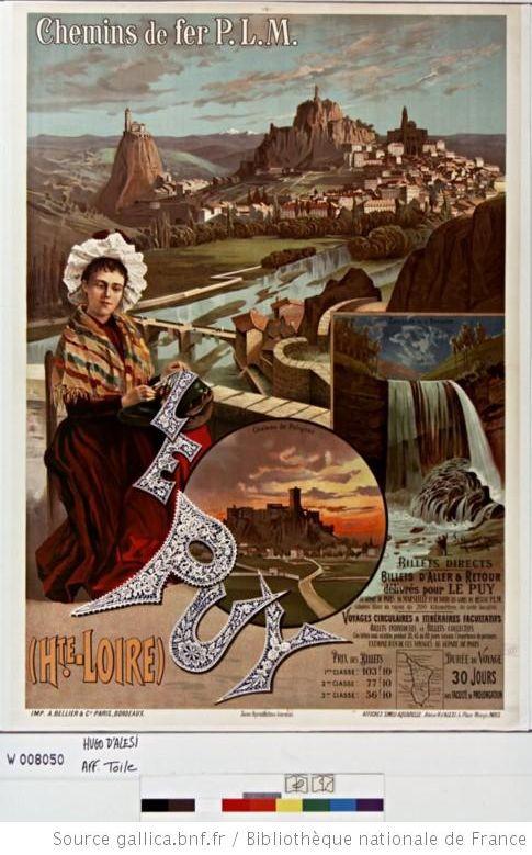 affiche publicitaire cascade de la Baume le puy en velay, dentelles