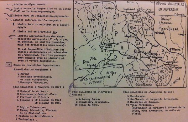 Carte patois auvergnat régions dialectales 600 Pierre Bonnaud