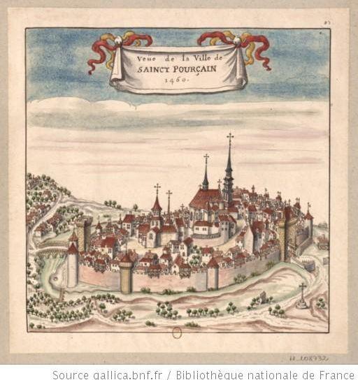 dessin représentant Saint Pourçain sur Sioule
